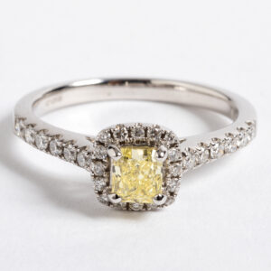 yellow natural diamond halo ring