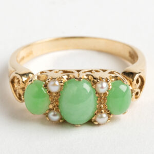 Jade and Seed Pearl Ring