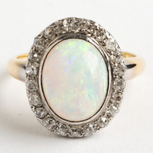 Cabouchon Opal and Old Cut Diamond Cluster ring