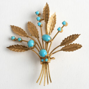 Antique Turquoise and gold floral spray brooch