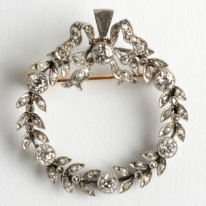 Antique Convertible Wreath brooch/ necklace with Diamonds