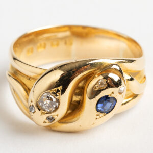 Antique Snake Ring, diamond and sapphire