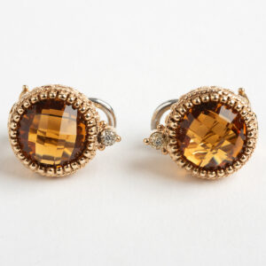 Citrine and Diamond Rose Gold Earrings