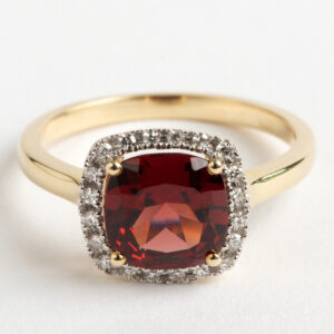 Garnet and Diamond cluster ring