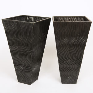 Robert Kuo, a pair of repousse copper vases