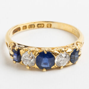 Victorian Sapphire and Diamond Boat shape ring