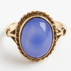 Cabouchon Blue Chalcedony Dress ring