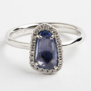 Rose Cut pale blue sapphire halo Dress ring
